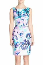 ELIZA J BELTED FLORAL PRINT FAILLE  FIT & FLARE  DRESS sz 8