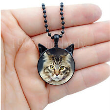 Photo Cabochon Glass charms Black Necklace(striped cat)with ears pendant