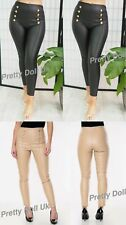 Women's Ladies Gold Button Leather Stretchy  Legging High Waist Party Pants