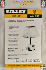 TILLEY LAMP TL120 SPECIFICATIONS AND SPARE PARTS  LEAFLET TILLEY  INSTRUCTIONS