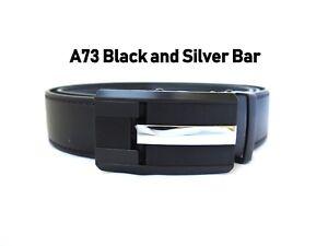 Men's Black Metal Automatic Click Lock Ratchet Buckle Dress Casual Golf Belt