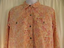 Christopher Banks Large Stretch Floral Print Button Front Shirt Top Long Sleeve