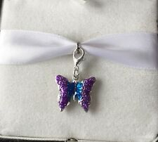 BEAUTIFUL DANGLE CLIP ON CHARM PURPLE BUTTERFLY CLIP ON CHARM