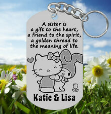 Kitty, Gift to the Heart~ SISTERS Keychain Gift with NAMES, Personalized!
