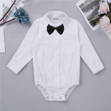 Newborn Baby Boys Gentleman Formal Dress Shirt Romper Bodysuit Party Outfits