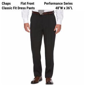 New Chaps Ralph Lauren Classic-Fit Dress Pants Mens 48 x 36 Black Stretch Career