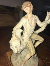 Giuseppe Armani Man With Sheep Sitting On Tree Stump Large Ltd Ed Figurine Rare