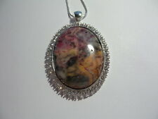 "CRAZY LACE AGATE RHINESTONE  NECKLACE 20"" LARGE STONE PINK GREY YELLOW"