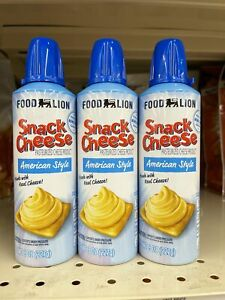 3 CANS Food Lion Snack Cheese Spray Squeeze American Cheese Wiz 8 oz