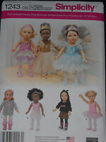 """18"""" Doll Clothes Sewing Pattern Dance Tutu Leotard Slippers Simplicity 1243"""