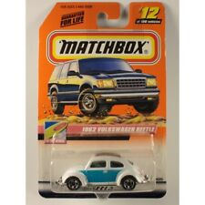 Matchbox 2000 #12 1962 Volkswagen Beetle, White w/ Blue, To The Beach