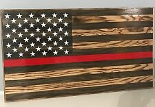 Handmade Rustic American Flag, Wooden, Thin Red Line (Fireman), Charred/Burnt