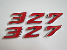 CHEVROLET 327 ENGINE ID FENDER HOOD SCOOP QUARTER TRUNK EMBLEMS - RED