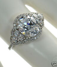 Solid 925 Sterling Silver Oval Cut Simulated Diamond Engagement Ring Sz-5 '