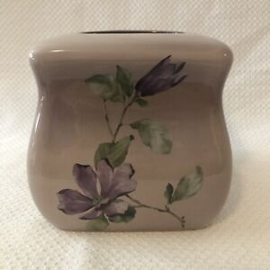 """MacArthur Park Ceramic Tissue Cover Shades Of Purple Orchids 6""""X6""""X6"""" New"""