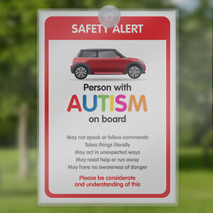Car Sign for ADHD Autism SEN Awareness Sign for Emergency Services - BORP