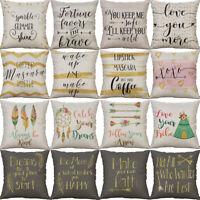 18'' Maxim Pattern Pillow Case Cotton Linen Throw Waist Cushion Cover Home Decor