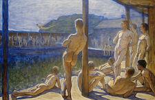 THE NAVY BATH HOUSE painting Nude Men Eugene Jansson Fine ART CANVAS PRINT
