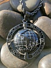"""MEN'S 316L BLACK STAINLESS STEEL """"WORLD IS YOURS"""" PENDANT WITH  24""""ROPE CHAIN"""