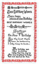 Best Birthday Wishes FLONZ 848 Greeting Sayings Poems clear acrylic clingy stamp