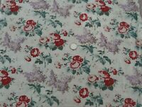 """Pretty Antique c1920s French Roses & Lilac Cotton Fabric~L-51"""" X W-15"""""""