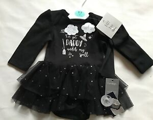 Baby Girl 2 piece Long Sleeve Bodysuit in Black & White with Daddy under spell
