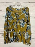 Boutique Rokoko Women's L Large Green Cute Floral Long Sleeve Fall Top Blouse