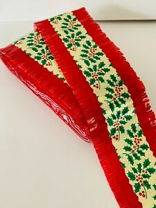 Traditional Christmas Cake Frill Red/Gold with Holly Design 7 meters in length