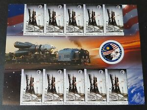2008 Malaysia Space Rocket Rail Truck Satellite Angkasawan 10v Stamp with Gutter