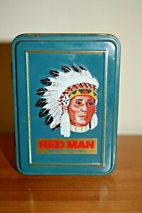 Official Vintage US Red Man (Chewing Tobacco) Tin with Double Deck Set of Cards