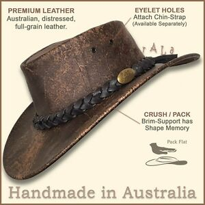 【oZtrALa】HAT Australian DISTRESSED LEATHER Men Golf OUTBACK Western Cowboy Brown