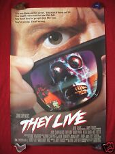 THEY LIVE *1988 ORIGINAL MOVIE POSTER JOHN CARPENTER'S THE THING HALLOWEEN DS NM