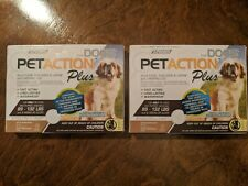 New 2 BOXES PetAction Plus for Dogs 89-132lbs (6 Doses) Kills Fleas Lice Larvae