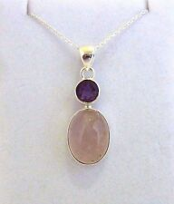 Natural Rose Quartz & Purple Amethyst Solid 925 Sterling Silver Necklace