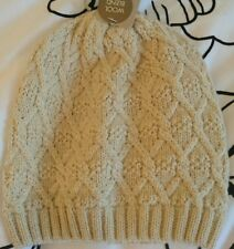Monsoon Accessorize Lurex Soft Diamond Beanie Hat Ivory Bnwt Wool Blend Metallic