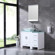 36'' White Bathroom Vanity Cabinet Ceramic Sink w/Mirror All In The Pic Included