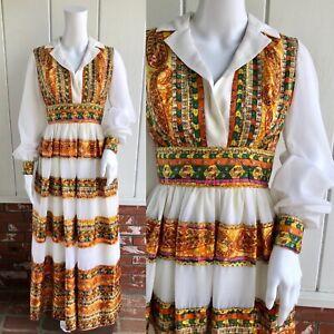 VTG 60s Hippie Boho Psychedelic Gold Paisley Tiered Skirt Hostess Maxi Dress XS