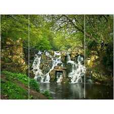 Waterfall Triptych Printed Canvas Picture - 3 Panel Split Artwork H90 x W120cm