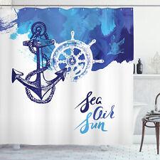 Anchor Decor Shower Curtain Nautical Wheel Print for Bathroom 70 Inches Long
