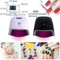 60W Cordless Rechargeable LED/UV Nail Lamp Light Gel Polish Nail Dryer Wireless