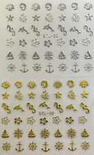Nail Art 3D Decal Stickers Shells Sea Horse Dolphin Anchor Gold or Silver DTL30