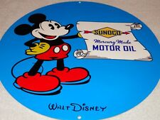 """VINTAGE SUNOCO MERCURY MADE MOTOR OIL & GAS MICKEY MOUSE 12"""" METAL GASOLINE SIGN"""
