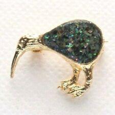 Brooch Pin - Kiwi Bird - Multi Color Glitter Enamel - Gold Tone