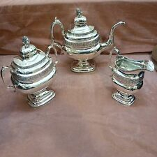 ANTIQUE COIN SILVER 3 PC TEA SET BY JOHN CRAWFORD 1815-1843 SILVERSMITH NY-PHIL