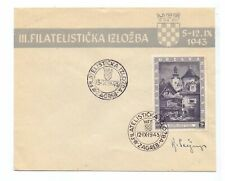 CROATIA 1943 18k EXHIBITION ON UNADDRESSED EXHIBITION COVER