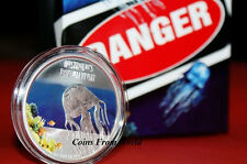 Tuvalu 2011 BOX JELLYFISH Australia Deadly Dangerous 1$ Silver Coin Uncirculated