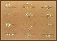 SET of 6 GOLD FILLED WIRE RINGS with AUSTRIAN CRYSTAL; CHILDREN'S SIZES; 1804CH