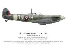 Print Spitfire Mk VI, P/O Michael Kilburn DFC, No 124 Squadron RAF (by G. Marie)