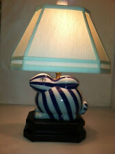 Blue/White Bunny Rabbit Table Lamp Striped Desk Bed Side Light Includes Shade