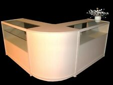 WHITE   Glass Shop counter -SET of 3 Cabinets ,2 x glass units,1 x corner ,free